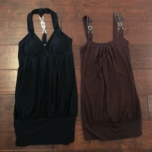 Black and brown tunic dresses
